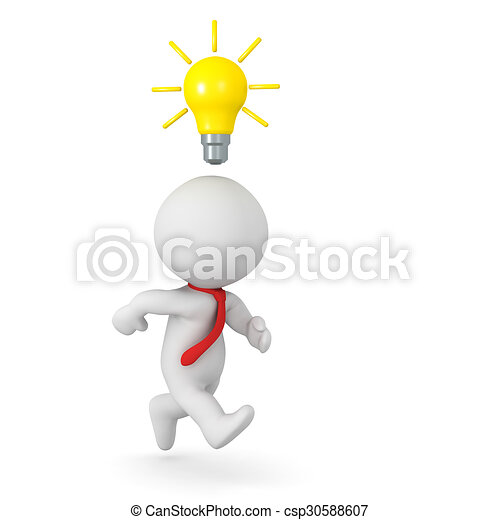 3D Character Running With Light Bulb Above His Head