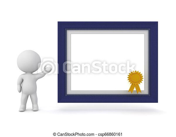 3D Character Showing a Diploma Frame - csp66860161