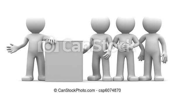 3D character showing blank banner to the goup of people - csp6074870