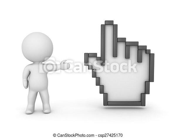 3D Character Showing Hand Cursor - csp27425170