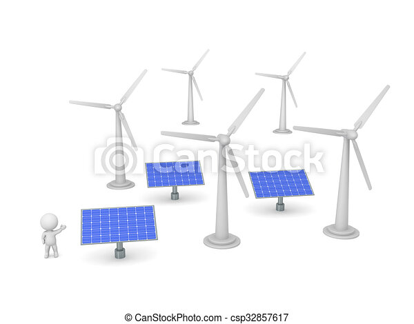 3D Character Showing Solar Panels and Wind Turbines - csp32857617