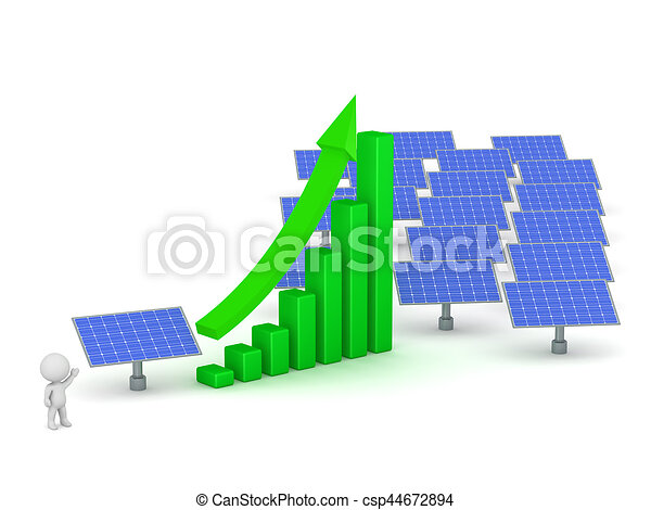 3D Character Showing Solar Power Increase - csp44672894