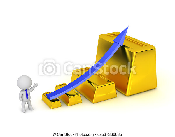 3D Character Showing Statistics Arrow Going Up and Large Gold Bars - csp37366635