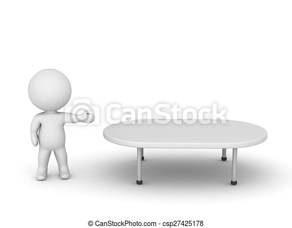 3D Character Showing Table - csp27425178