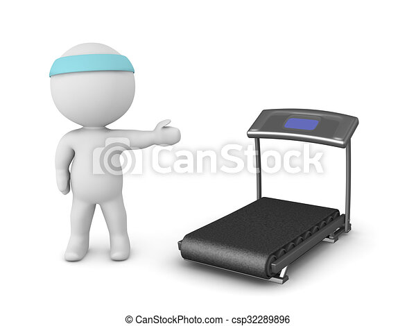 3D Character Showing Treadmill - csp32289896