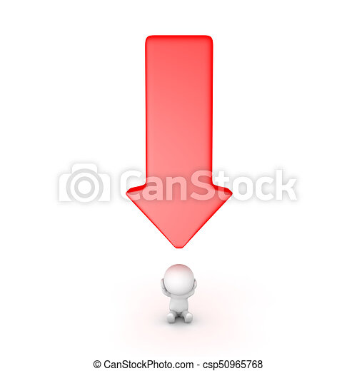 3D Character stressed with a big red arrow pointing down at him - csp50965768