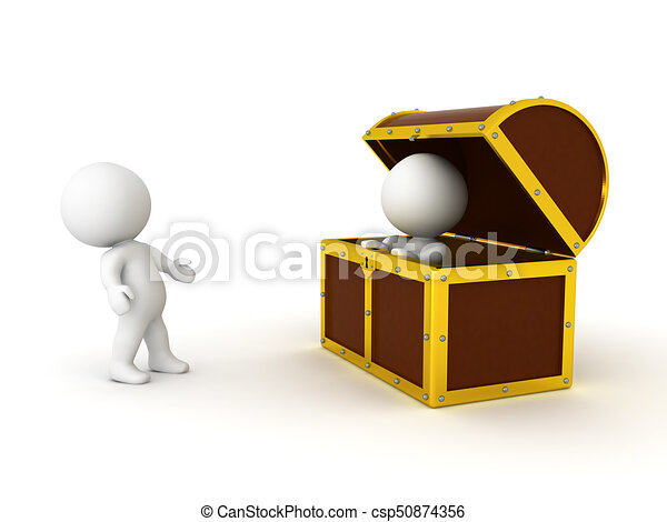 3D Character surprised that another person is in a treasure chest - csp50874356