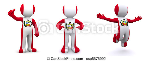3d character textured with flag of Peru - csp6575992