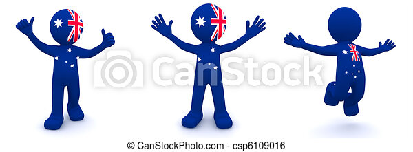 3d character textured with flag of Australia - csp6109016