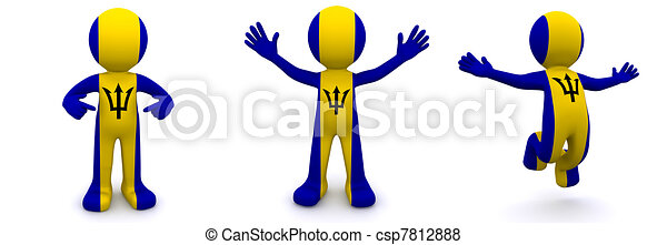 3d character textured with flag of Barbados - csp7812888