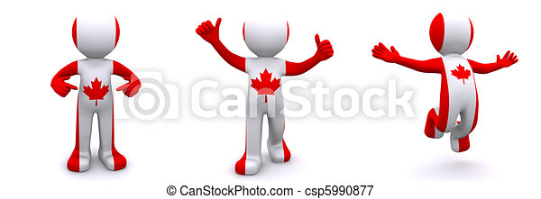 3d character textured with flag of Canada - csp5990877