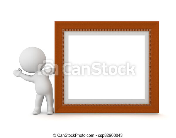 3D Character Waving from Behind Decorated Diploma Frame - csp32908043