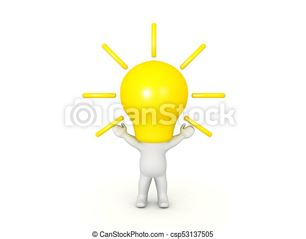 3d Character With A Bright Light Bulb For Head The Is Emitting And Characters Arms Are Raised