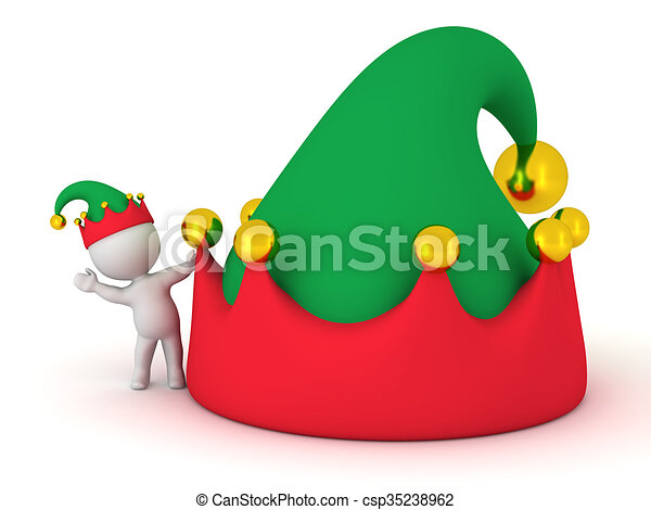 fca8eca7c4ae9 ... Stock Illustration. 3D Character with Elf Hat waving from behind large  elf hat - csp35238962