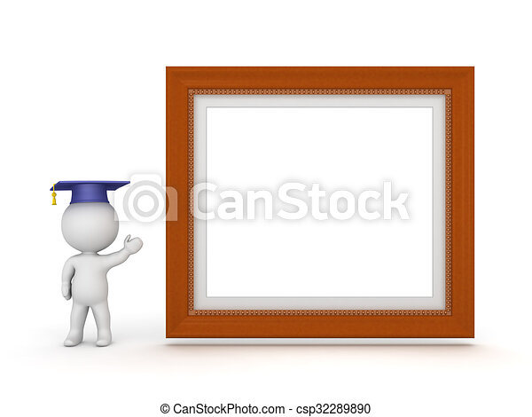 3D Character with Graduation Hat Showing Large Diploma Frame - csp32289890