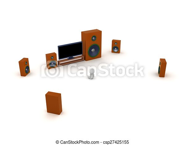 3D Character with HDTV and speakers - csp27425155