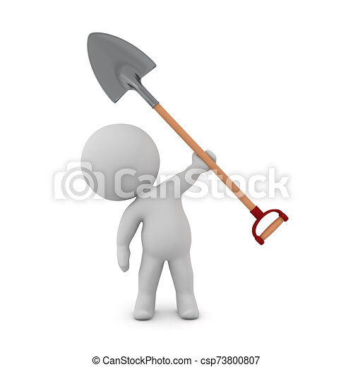 3D Character with Shovel - csp73800807