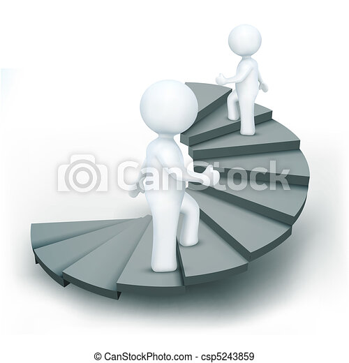 3d characters climbing steps of success - csp5243859