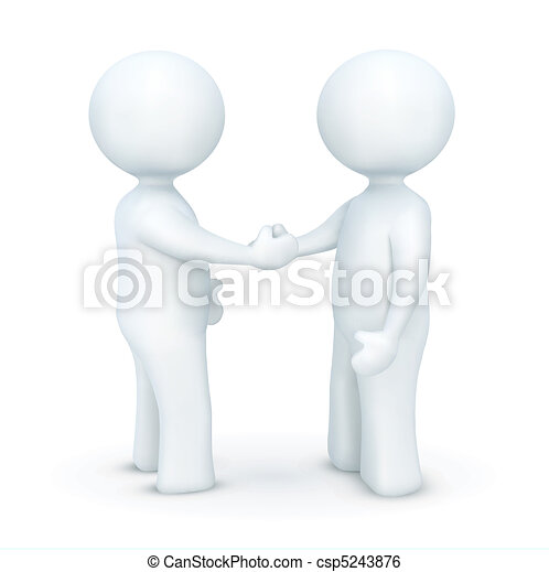3d characters hand shaking - csp5243876