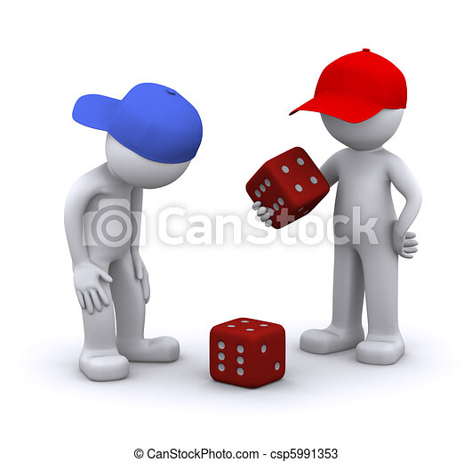 3d characters playing dice - csp5991353