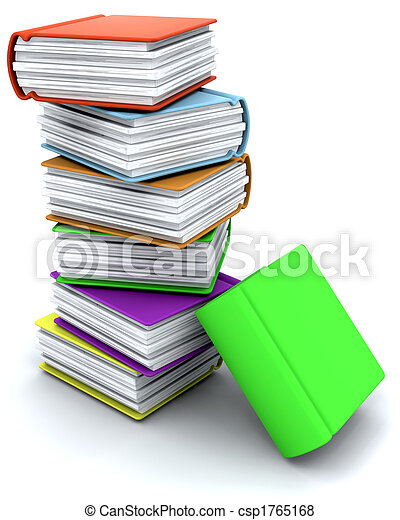 3d charicature render of a stack of books - csp1765168