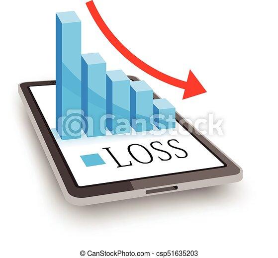 profit loss concept 3d chart graph on tablet pc screen