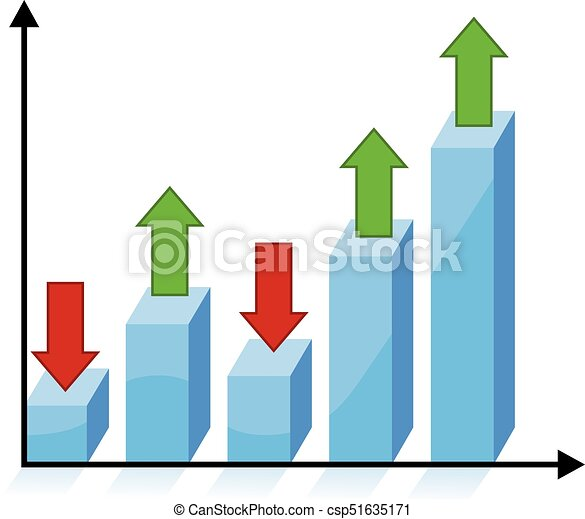 3d chart graph with red and green arrows - csp51635171