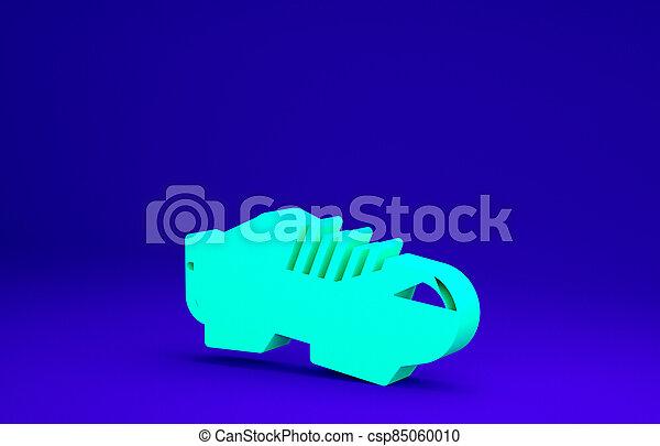 3d, chaussures, concept., icône, bleu vert, sport, minimalisme, cyclisme, chaussures, illustration, shoes., vélo, triathlon, render, arrière-plan., isolé - csp85060010