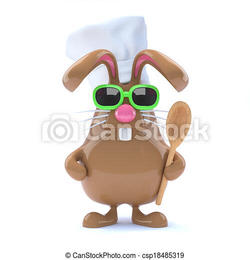 3d Chcolate bunny chef - csp18485319