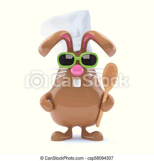 3d Chcolate bunny chef - csp58094307