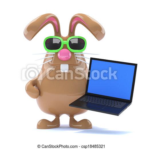 3d Chcolate Easter Bunny has a laptop - csp18485321