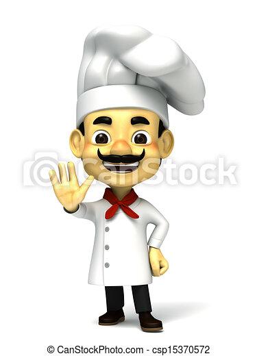 3d chef decline pose - csp15370572