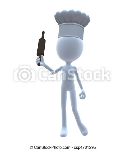 3D Chef With A Rolling Pin - csp4701295