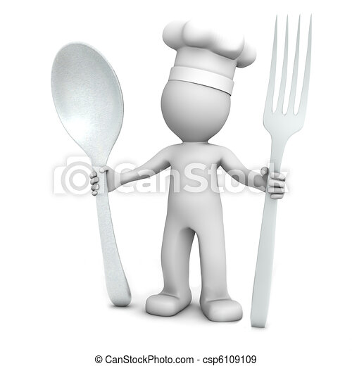 3D chef with spoon and fork - csp6109109