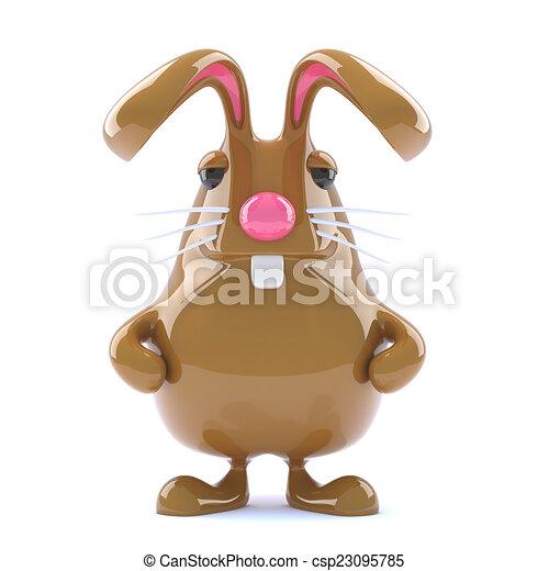 3d Chocolate Easter bunny rabbit is alert - csp23095785