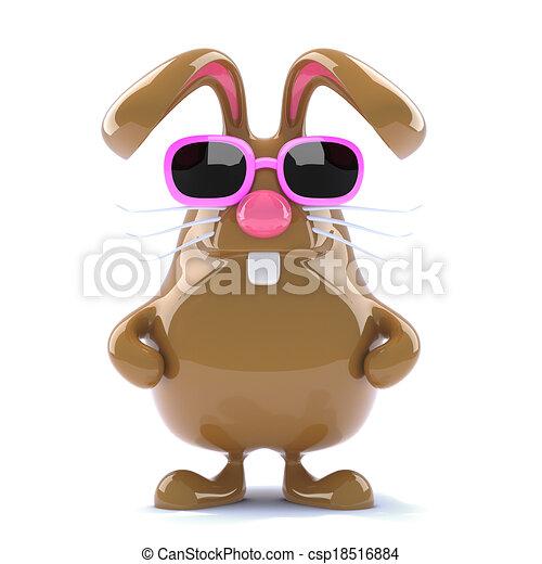 3d Chocolate Easter bunny - csp18516884