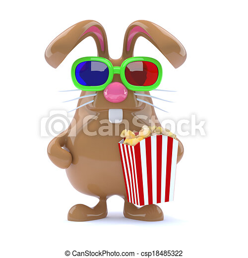 3d Chocolate Easter Bunny with popcorn - csp18485322