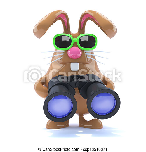 3d Chocolate Easter bunny with binoculars - csp18516871