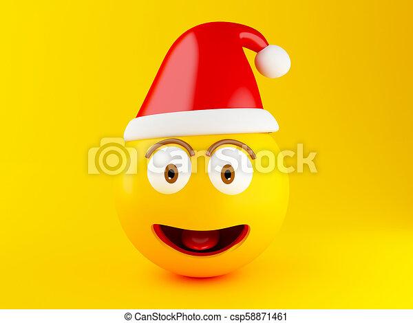 3d Christmas Emoji icons with Santa hat. - csp58871461