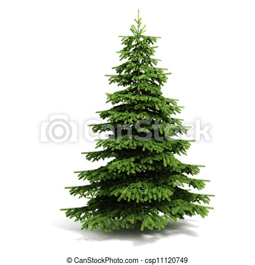3d christmas tree ready to decorate - on white background.