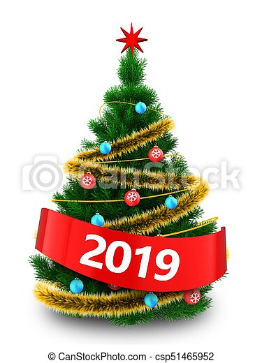 Christmas Tree White Background.3d Christmas Tree With 2019 Sign