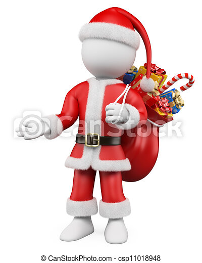 3d christmas white people santa claus pointing with one hand csp11018948 - White Santa Claus