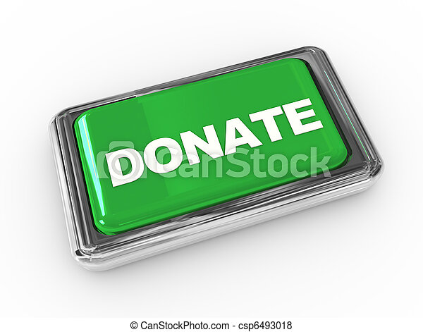 """3d chrome push button with text """"donate"""" - csp6493018"""