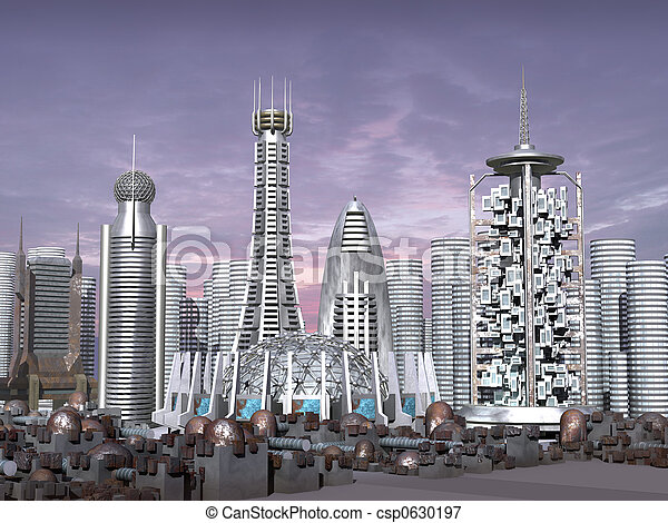Tercer modelo de la ciudad de ciencia ficción - csp0630197