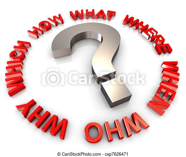 3d circular question words - csp7626471