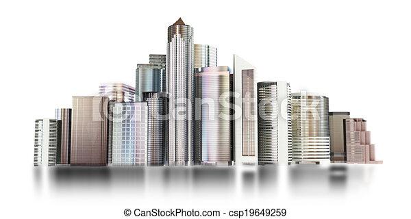3d city skyline - csp19649259