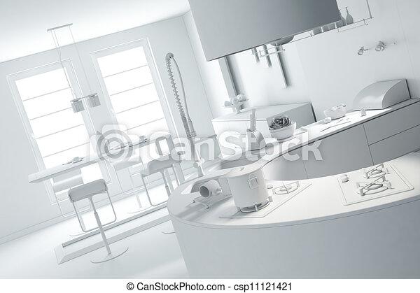 3d clay rander of a modern kitchen  - csp11121421