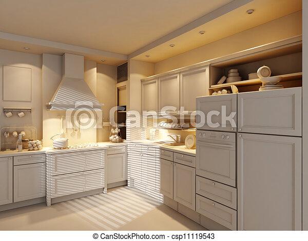 3d clay rander of a modern kitchen  - csp11119543