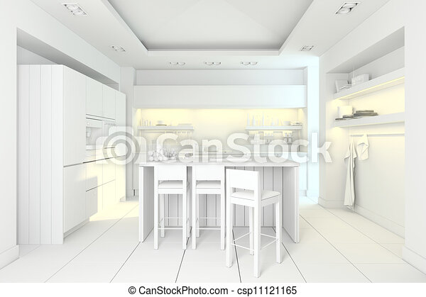 3d clay rander of a modern kitchen  - csp11121165