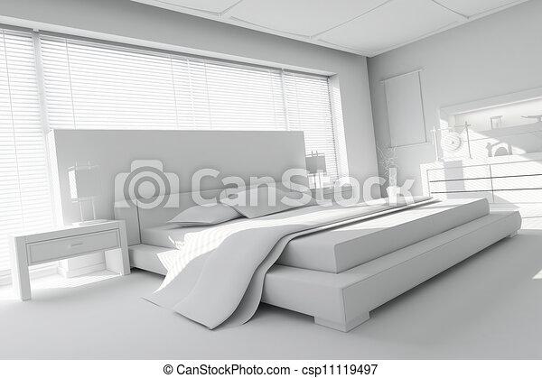 3d clay render of a modern bedroom - csp11119497